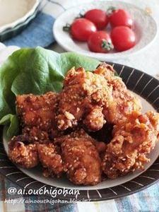 お家居酒屋レシピ*ピリッと辛い鶏のごま唐揚げ♡