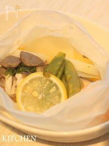 塩鮭と野菜のレモンバター蒸し
