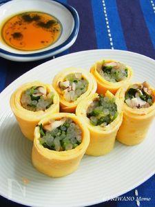 シャキシャキ野菜と椎茸のたまご巻き