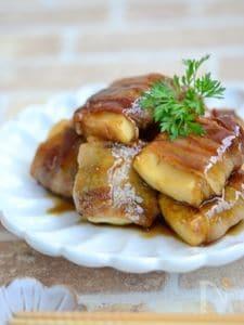 厚揚げ豆腐の豚バラとおぼろ昆布巻き