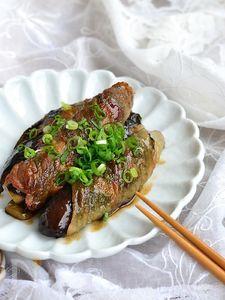 豚バラ肉となすの昆布巻き照り焼き