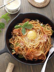 簡単*茹で時間なし*焼きそば麺deナポリタンスパゲッティー☆