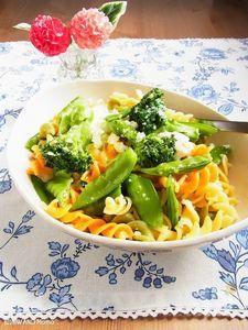 緑野菜と半熟卵のフジッリ パルミジャーノ・レッジャーノがけ
