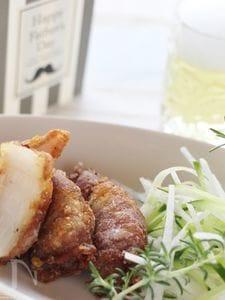 新玉葱の豚ロール揚げ、竜田揚げ風味