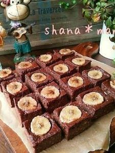 バナナ救済♪バナナと豆腐のむっちりヘルシーブラウニー♪