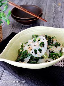 簡単副菜*春菊と蓮根の白だしごまナムル