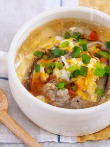 心も身体もポッカポカ『きのことかき玉のうまだしとろみスープ』