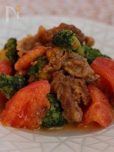 豚肉とブロッコリー、トマトのマヨ味噌炒め