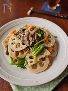 レンコンと牛肉の韓国風炒めもの