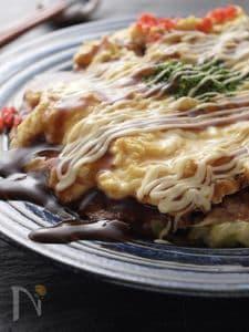 極み豚玉☆豆腐入り金色のお好み焼き♡うちの看板メニュー