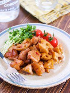 10分放置♪鶏肉とレンコンの甘辛蒸し【#作り置き#お弁当】