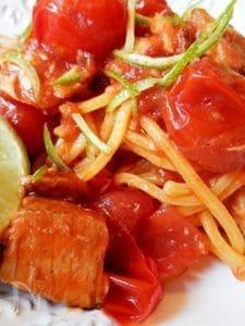 かんぱちとトマトのパスタライム風味