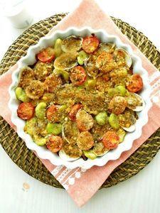 あさりと野菜の香草パン粉焼き
