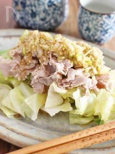 豚肉とキャベツの温野菜、中華風