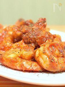 市販のトマトソースで「イタリアンな海老チリ」