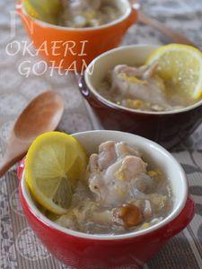 手羽元のレモンかき玉春雨スープ