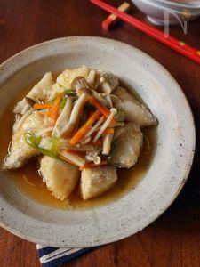 揚げ鱈と里芋のきのこあんかけ