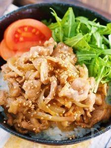 マヨ de コクうま♪『豚こまのマヨ生姜焼き丼』
