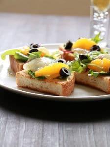 パンでおつまみ☆鯛とオレンジのタルティーヌ
