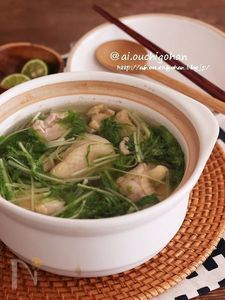 鶏肉×水菜で材料2つ!鶏塩スープ煮♡