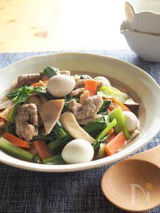 豚こまと小松菜の八宝菜風