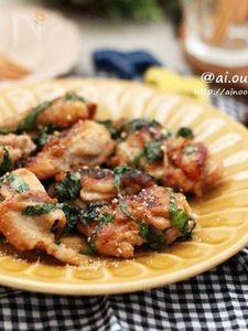 男子も喜ぶボリュームおかず♡大葉香る鶏肉のにんにく味噌焼き♡