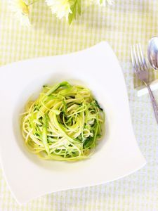 アスパラガスと豆苗のスパゲティ