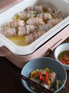 白菜もりもり肉巻き蒸し鍋 オリーブポン酢たれ