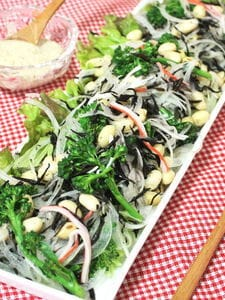 ごまマヨドレッシングde大豆とひじきのサラダ