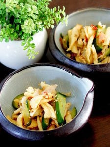 切干大根と胡瓜のすし酢炒め