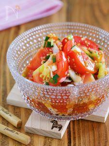 超簡単5分おかず♪汁まで飲みほす♡『トマトのねぎ甘酢あえ』