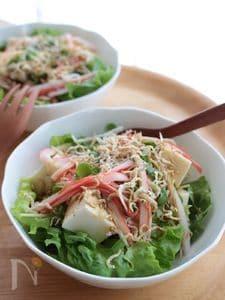 炒りじゃこがけお豆腐サラダ