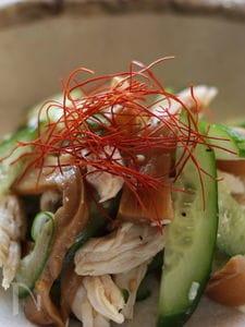 鶏ささみ肉とメンマの和え物、中華風