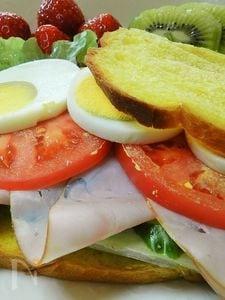 ホームベーカリーで作るパンプキンブレッドのサンドイッチ