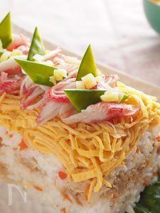 切干大根の甘酢煮とツナのケーキ寿司☆ロールケーキのケース使用