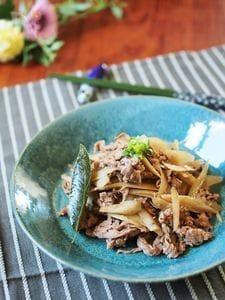 ローリエが隠し味。牛肉とごぼうの炒め煮