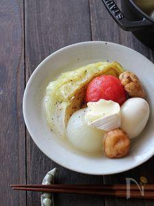 焼きキャベツと玉ねぎのトマトおでん