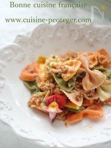 トマトとひき肉のファルファッレ