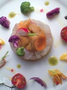 白身魚のカルパッチョ 色彩野菜添え