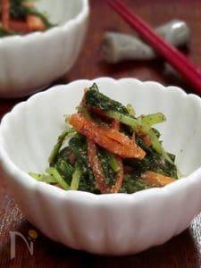 水菜とにんじんのゴマポン酢和え