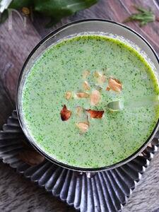 水菜ととうもろこしの温冷対応食べるスープ
