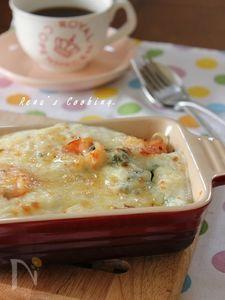 菜の花と海老のスパグラ~米粉ベシャメル~