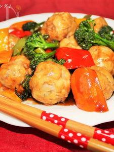 おからミートボールと彩り野菜の甘酢あんかけ