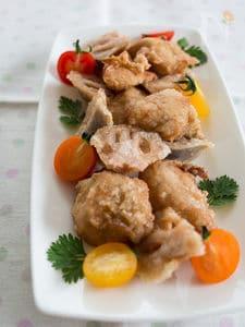 鶏肉とれんこんの塩竜田揚げ