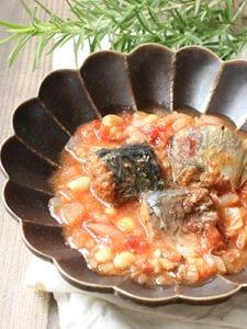 さば味噌缶使用!レンジでトマト煮