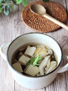 塩きのこと豆腐の澄まし汁