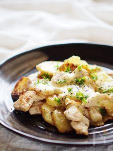 薄切りポテトと鶏胸肉の重ね焼き
