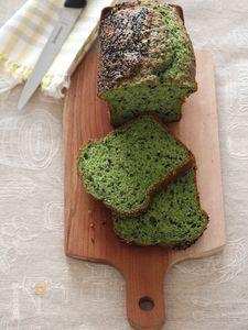 ほうれん草と黒ごまのパウンドケーキ。