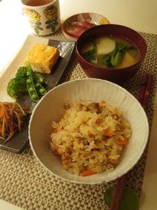 人参と鶏肉の炊き込みご飯