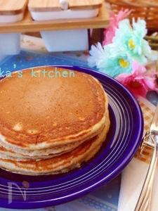 全粒粉とお豆腐で♪そのままでも美味しいヘルシーパンケーキ♡